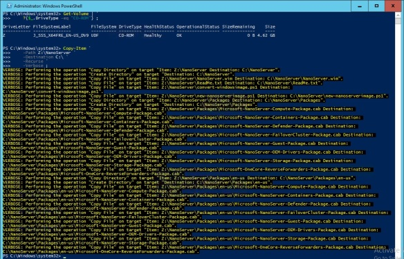 VMware + Windows Nano Server - Build Process 1 - Copy NanoServer content