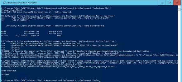 VMware + Windows Nano Server - Build Process 11 - Copy Nano Server VHD to media folder and Create Windows PE ISO