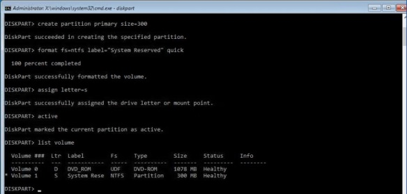VMware + Windows Nano Server - Build Process 14 - Create System Reserved partition using DiskPart