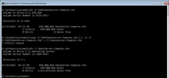 VMware + Windows Nano Server - Build Process 16 - Copy the VHD from media to local Operating System Drive
