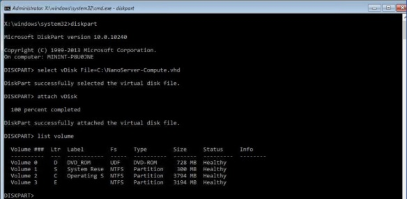 VMware + Windows Nano Server - Build Process 17 - Attach VHD using DiskPart