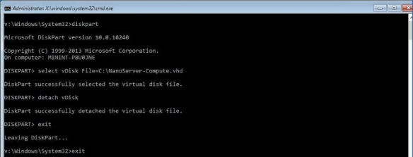 VMware + Windows Nano Server - Build Process 20 - Detach the VHD vDisk and Reboot