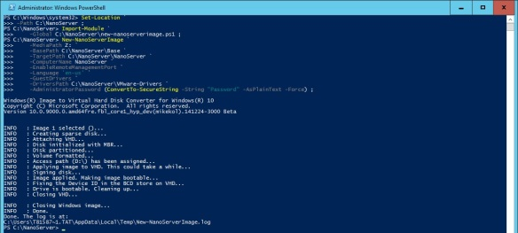 VMware + Windows Nano Server - Build Process 4 - Create NanoServer