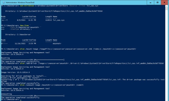 VMware + Windows Nano Server - Build Process 5 - Inject LSI SAS Driver into NanoServer