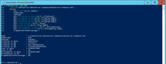 VMware + Windows Nano Server - Build Process 7 - Getting VHD Information