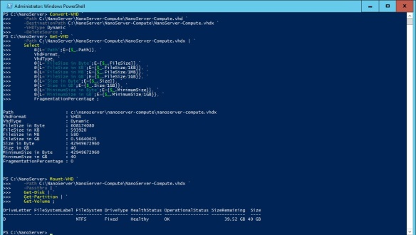 VMware + Windows Nano Server - Build Process 8 - Convert VHD to VHDX and Mount the VHDX