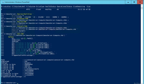 VMware + Windows Nano Server - Build Process 9 - Resize Partition & VHD and Convert VHDX to VHD